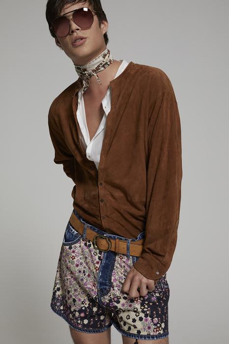 DSQUARED2 Men Shirt Brown Size 40 100% Lambskin