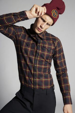 DSQUARED2 Men Shirt Dark brown Size 38 100% Cotton