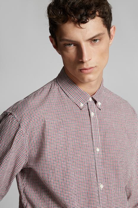 DSQUARED2 Men Shirt Maroon Size 44 100% Cotton