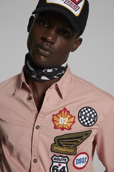 DSQUARED2 Men Shirt Pink Size 44 97% Cotton 3% Elastane
