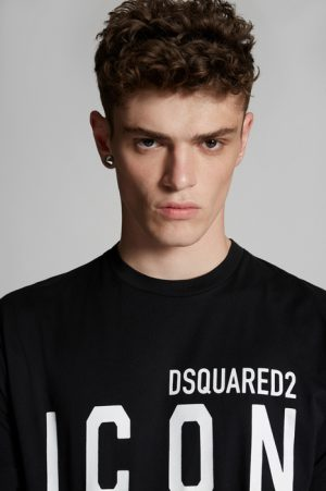 DSQUARED2 Men Short sleeve t-shirt Black Size M 100% Cotton