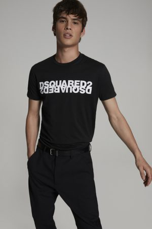 DSQUARED2 Men Short sleeve t-shirt Black Size S 100% Cotton