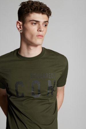DSQUARED2 Men Short sleeve t-shirt Military Green Dark Size L 100% Cotton