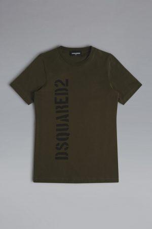 DSQUARED2 Men Short sleeve t-shirt Military green Size 12 100% Cotton