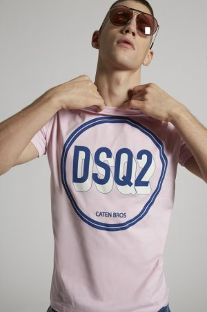DSQUARED2 Men Short sleeve t-shirt Pink Size XXL 100% Cotton