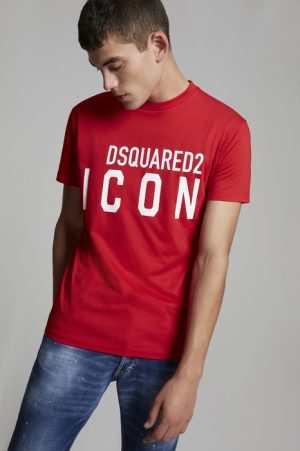 DSQUARED2 Men Short sleeve t-shirt Red Size XL 100% Cotton