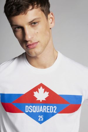 DSQUARED2 Men Short sleeve t-shirt White Size L 100% Cotton