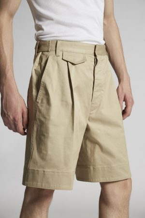 DSQUARED2 Men Shorts Beige Size 34 97% Cotton 3% Elastane