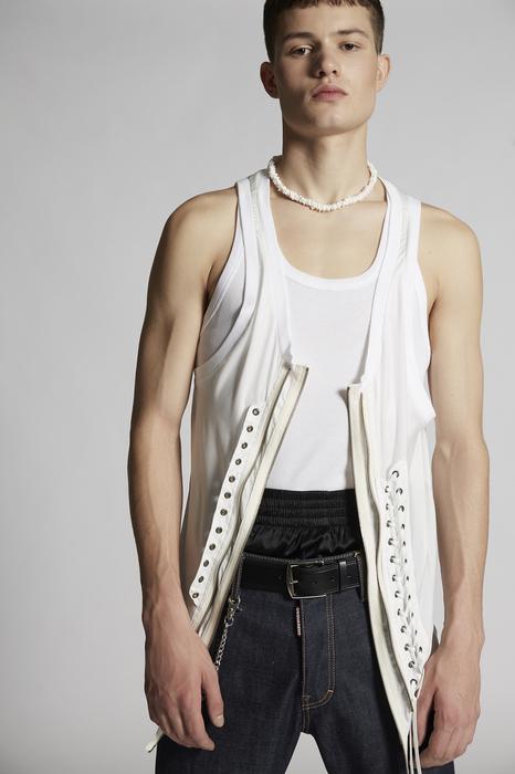 DSQUARED2 Men Sleeveless t-shirt White Size XXL 100% Polyester