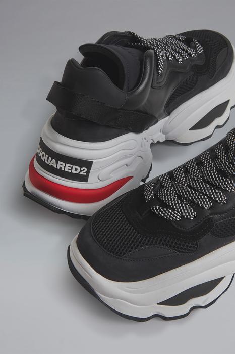 DSQUARED2 Men Sneaker Black Size 12 67% Calfskin 12% Polyester 12% Polyethylene 7% Nylon 2% Elastane