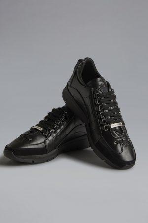 DSQUARED2 Men Sneaker Black Size 13 90% Calfskin 6% Polyurethane 2% Polyester 1% Aluminium 1% Viscose