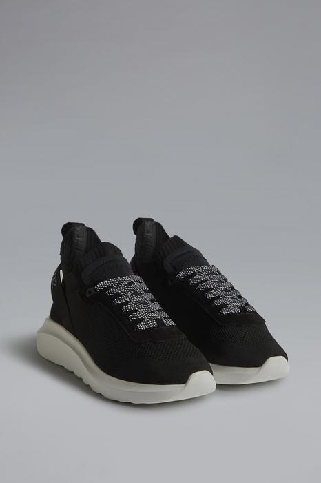 DSQUARED2 Men Sneaker Black Size 7 69% Polyester 14% Polyamide 10% Calfskin 5% Elastane 2% Nylon