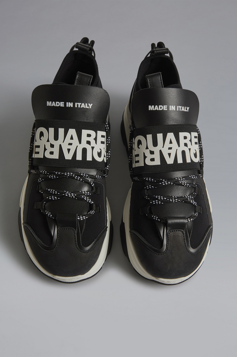 DSQUARED2 Men Sneaker Black Size 8 60% Polyester 25% Calfskin 10% Polyurethane 3% Elastane 2% Viscose
