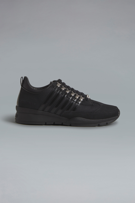 DSQUARED2 Men Sneaker Black Size 8 60% Polyester 25% Calfskin 10% Polyurethane 5% Nylon