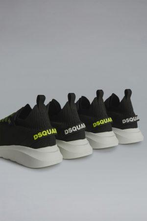 DSQUARED2 Men Sneaker Black Size 8 70% Polyester 15% Polyamide 8% Calfskin 5% Elastane 2% Nylon