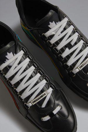 DSQUARED2 Men Sneaker Black Size 9 65% Calfskin 20% Polyurethane 10% Polyamide 4% Polyester 1% Viscose