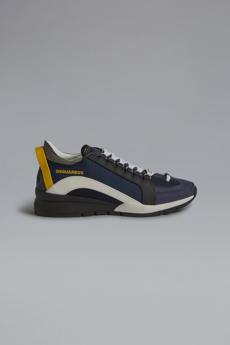 DSQUARED2 Men Sneaker Dark blue Size 9 70% Nylon 20% Calfskin 7% Polyurethane 2% Polyester 1% Viscose