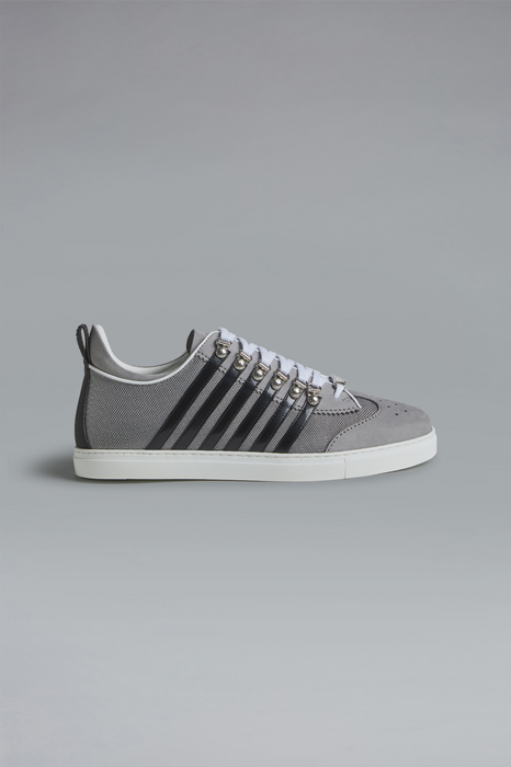 DSQUARED2 Men Sneaker Grey Size 7 45% Calfskin 40% Polyurethane 10% Polyurethane 4% Polyester 1% Viscose