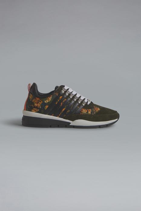 DSQUARED2 Men Sneaker Military green Size 10 85% Polyester 15% Calfskin