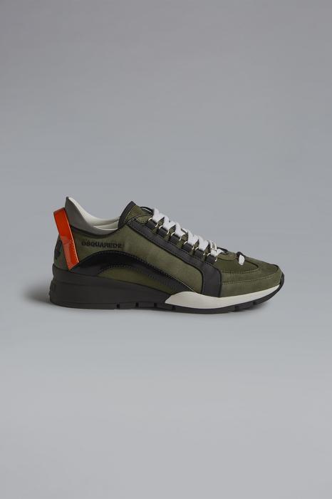 DSQUARED2 Men Sneaker Military green Size 6 70% Nylon 20% Calfskin 7% Polyurethane 2% Polyester 1% Viscose