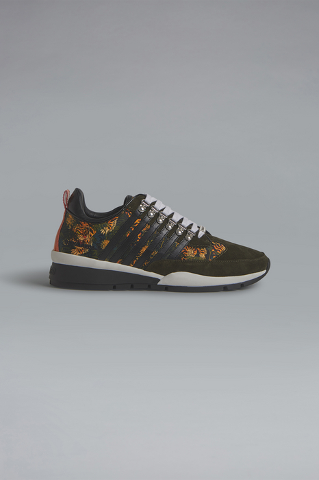 DSQUARED2 Men Sneaker Military green Size 6 85% Polyester 15% Calfskin