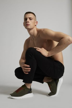 DSQUARED2 Men Sneaker Military green Size 8 69% Polyester 14% Polyamide 10% Calfskin 5% Elastane 2% Nylon