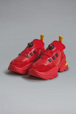 DSQUARED2 Men Sneaker Red Size 7 50% Polyester 25% Calfskin 18% Polyurethane 5% Viscose 2% Cotton