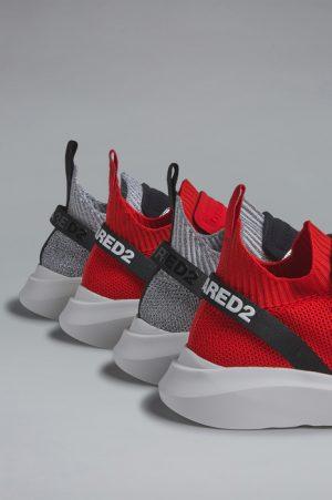 DSQUARED2 Men Sneaker Red Size 7 70% Polyester 15% Polyamide 8% Calfskin 5% Elastane 2% Nylon