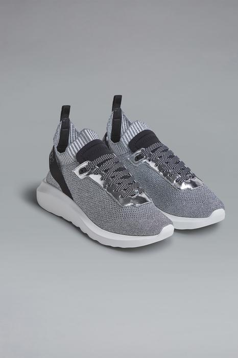DSQUARED2 Men Sneaker Silver Size 11 50% Polyester 27% Polyamide 10% Calfskin 9% Polyethylene 4% Elastane