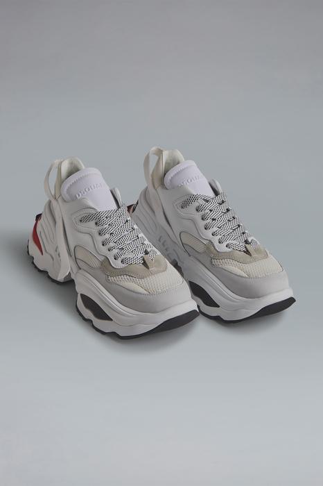 DSQUARED2 Men Sneaker White Size 11 67% Calfskin 12% Polyester 12% Polyethylene 7% Nylon 2% Elastane