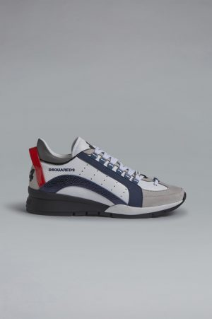 DSQUARED2 Men Sneaker White Size 11 80% Calfskin 15% Polyester 5% Cotton