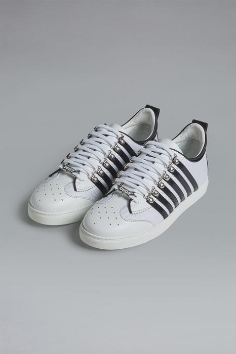 DSQUARED2 Men Sneaker White Size 13 45% Calfskin 40% Polyurethane 10% Polyurethane 4% Polyester 1% Viscose