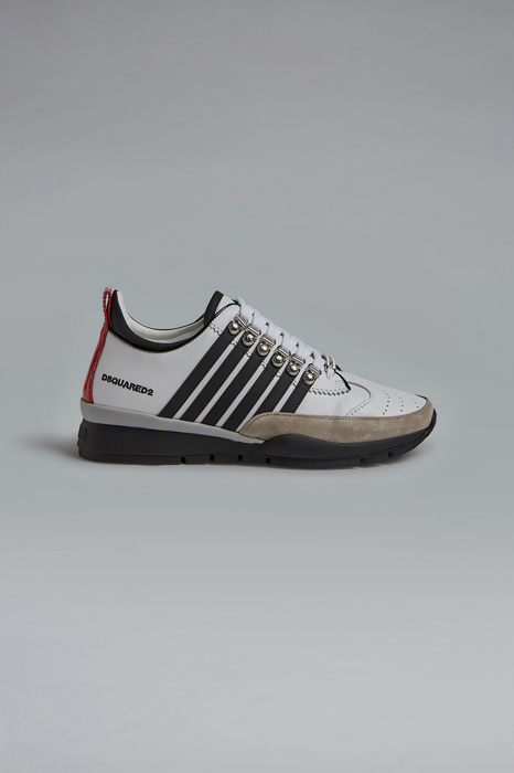 DSQUARED2 Men Sneaker White Size 9 70% Calfskin 15% Polyurethane 10% Polyamide 3% Polyester 2% Viscose
