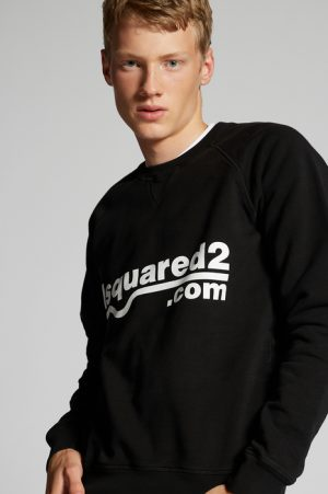 DSQUARED2 Men Sweatshirt Black Size L 100% Cotton