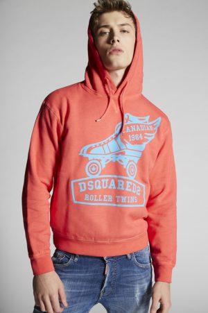DSQUARED2 Men Sweatshirt Coral Size XL 100% Cotton