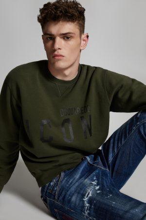 DSQUARED2 Men Sweatshirt Military Green Dark Size S 100% Cotton