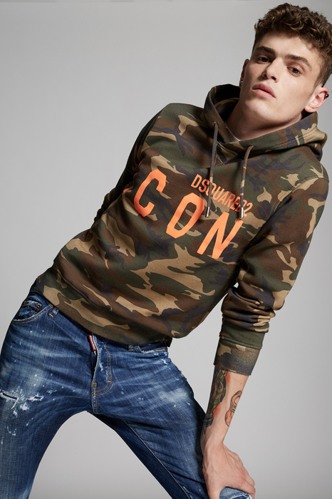 DSQUARED2 Men Sweatshirt Military green Size S 100% Cotton