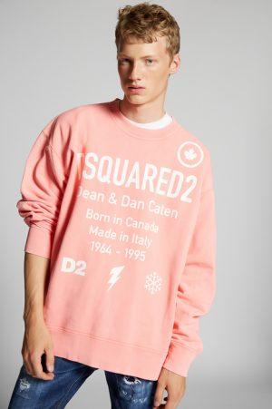 DSQUARED2 Men Sweatshirt Salmon pink Size S 100% Cotton