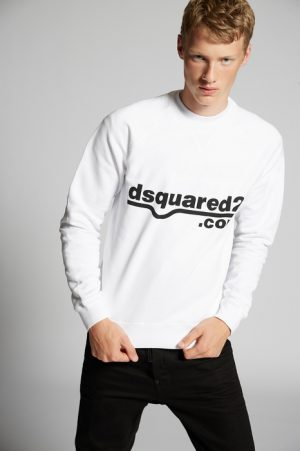 DSQUARED2 Men Sweatshirt White Size L 100% Cotton