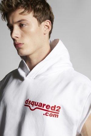 DSQUARED2 Men Sweatshirt White Size XL 100% Cotton