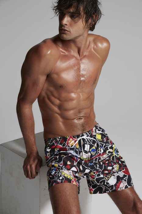 DSQUARED2 Men Swimming trunks Black Size 26 100% Polyester