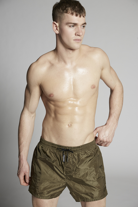 DSQUARED2 Men Swimming trunks Military green Size 30 100% Polyamide