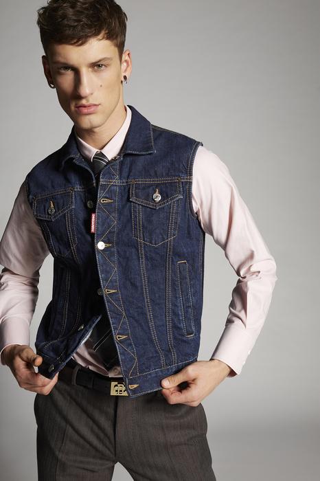 DSQUARED2 Men Vest Blue Size 34 100% Cotton