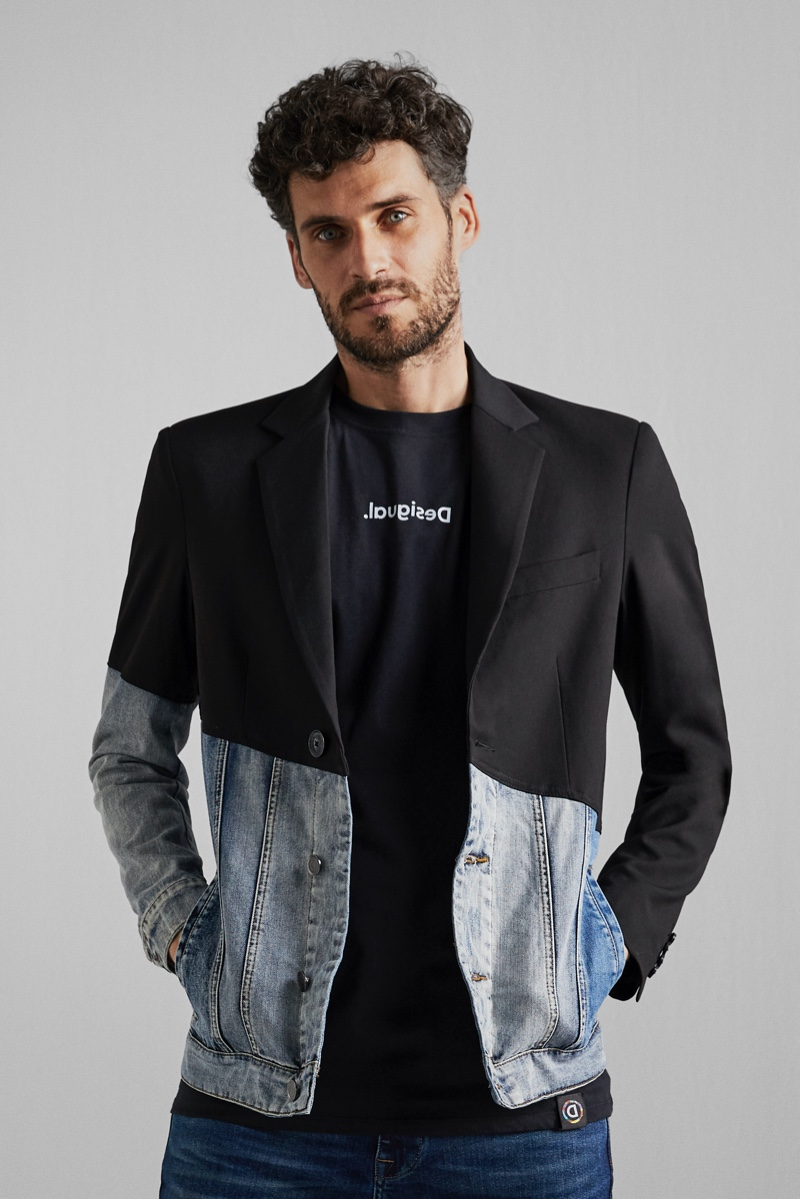 Connecting with Desigual, model Florent Lahmeri wears the brand's new hybrid denim jacket.