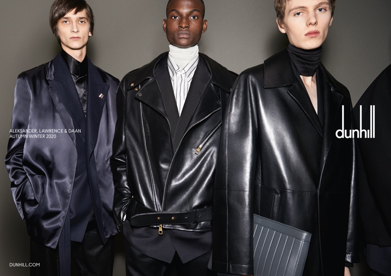 Alexandr Kuznetsovkz, Winston Lawrence, and Daan Duez star in Dunhill's fall-winter 2020 campaign.
