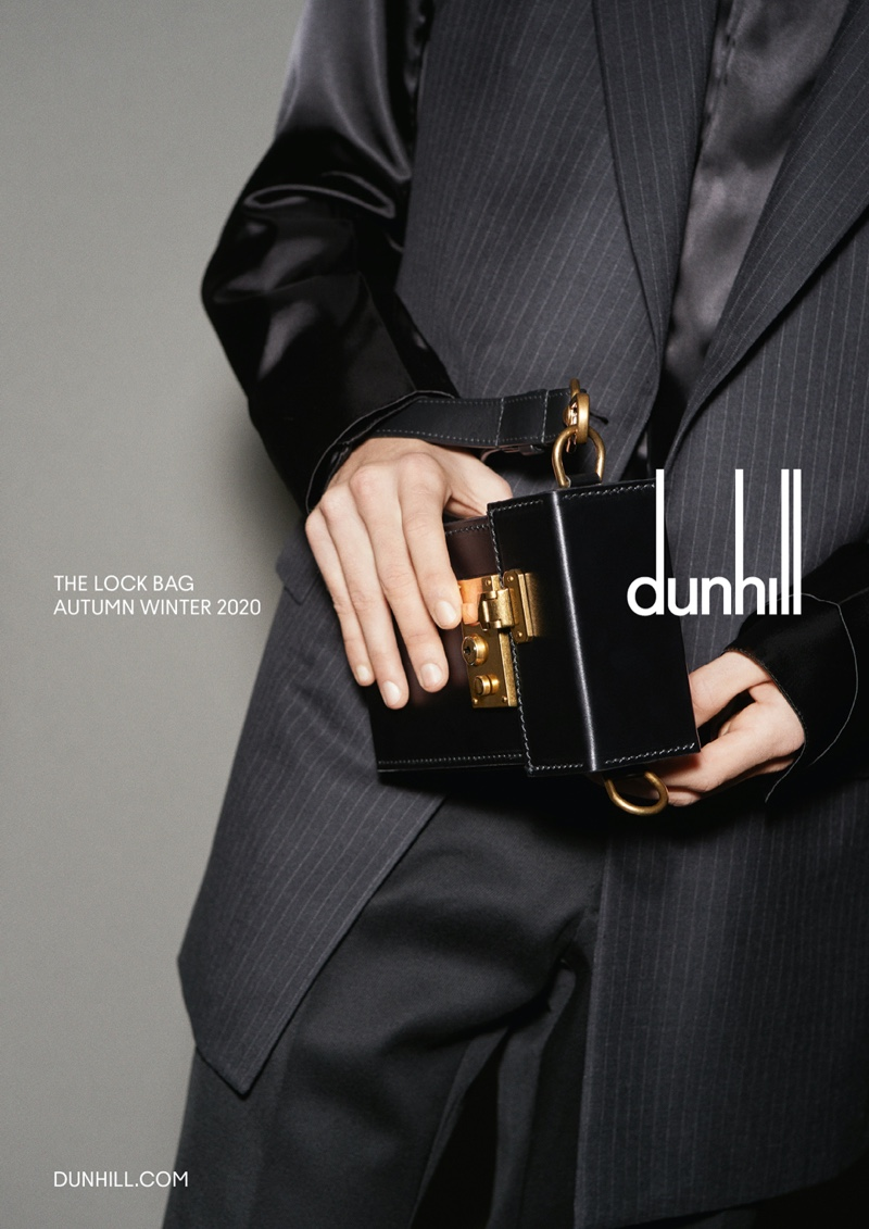 Dunhill highlights its sleek Lock bag for its fall-winter 2020 campaign.