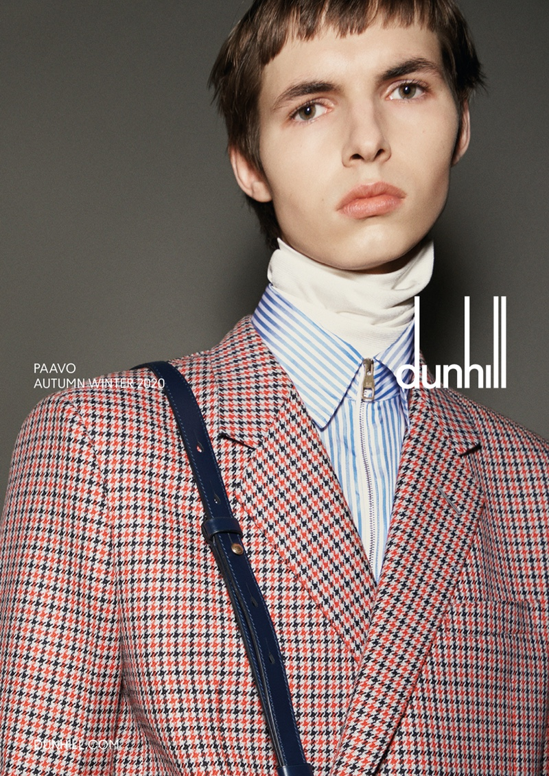 Paavo Pakkanen dons chic layers for Dunhill's fall-winter 2020 campaign.