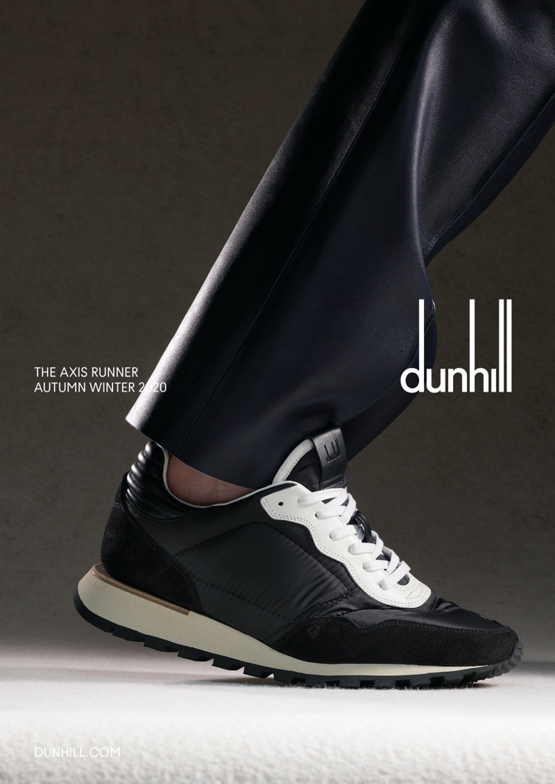 Dunhill's Axis Runner sneaker is front and center for the brand's fall-winter 2020 campaign.