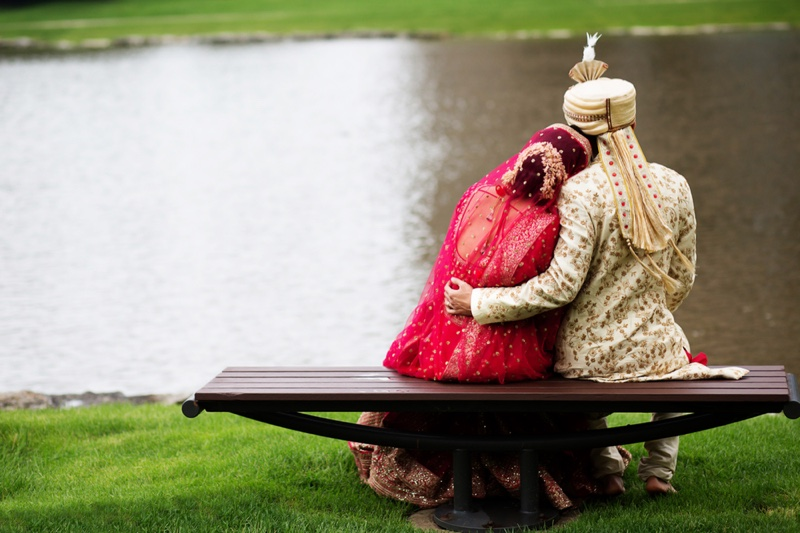 Embracing Indian Couple Outdoors