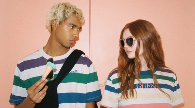 Daouda Ka and Victoria Britt don striped tees for GUESS Originals' fall 2020 campaign.